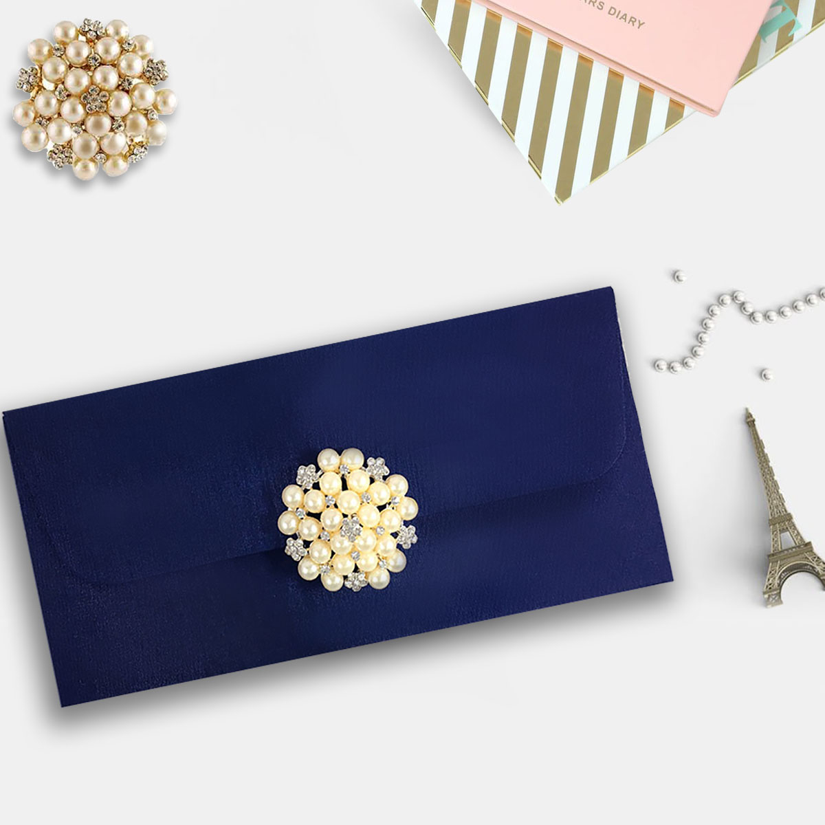 navy pearl wedding envelope