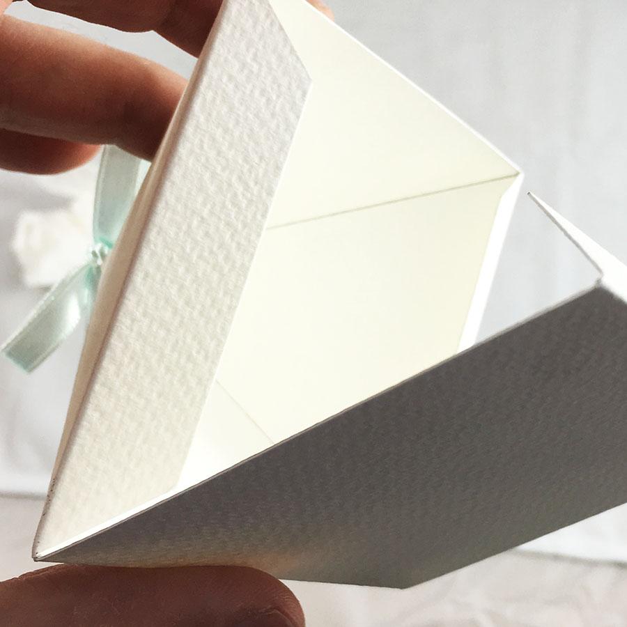 Off-White Pyramid Wedding Favor Box - Luxury Wedding Invitations ...