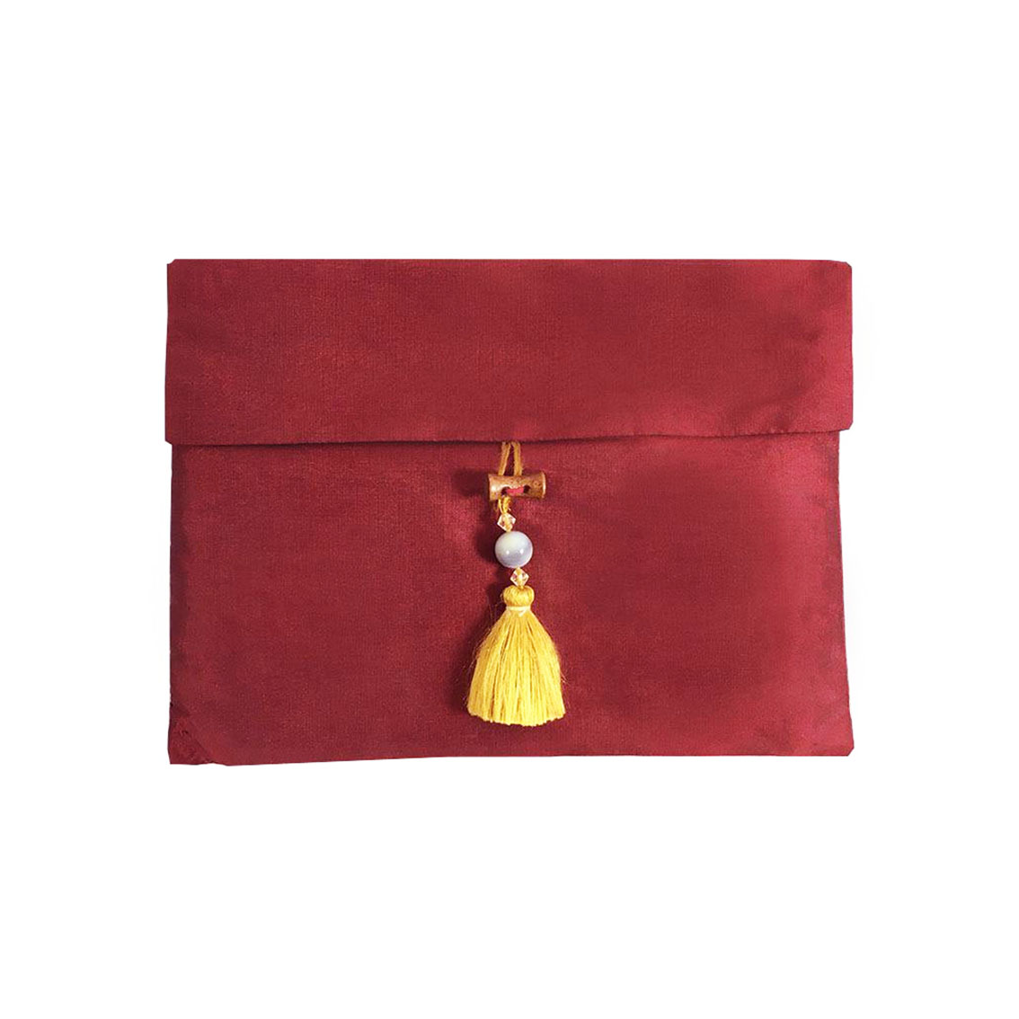 Red Thai silk tassel pouch