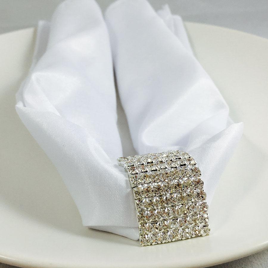 Silver Rhinestone Napkin Holder Amp White Silk Napkin