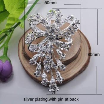 Modern silver wedding brooches