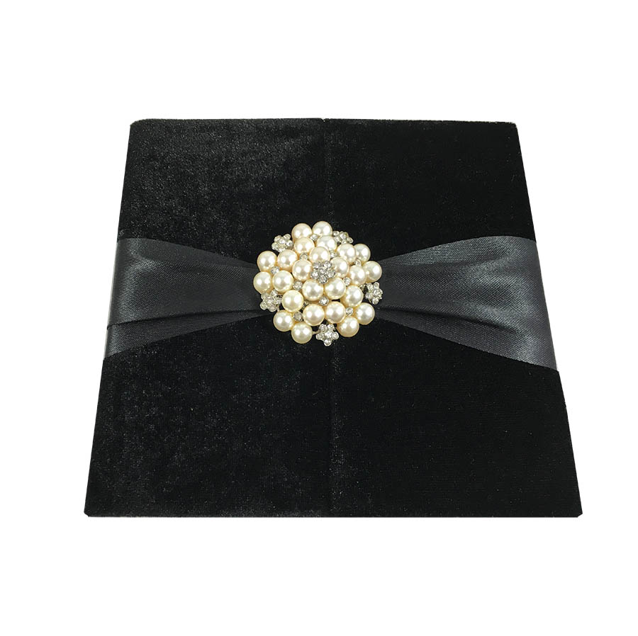 Black Velvet Pocket Folder Wedding Invitations With Pearl Brooch - Luxury  Wedding Invitations, Handmade Invitations & Wedding Favors