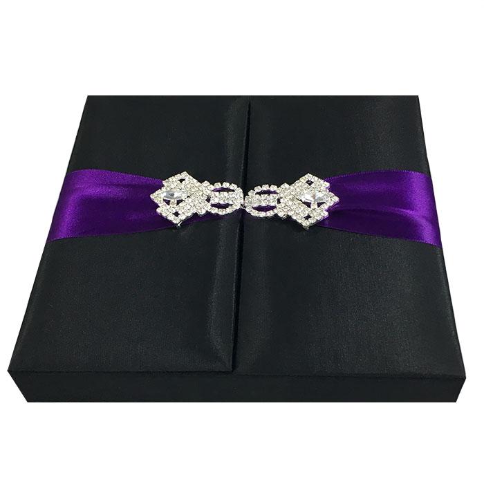 Black Wedding Invitation Box With Embellishment