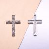 Silver crystal cross brooch