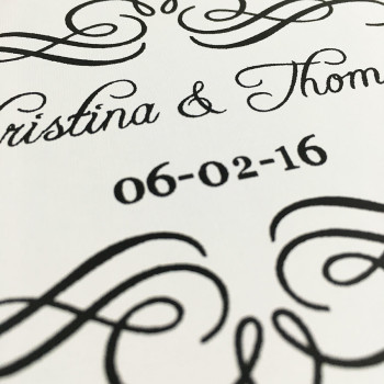 Printed bride and groom name with wedding date on cardstock box
