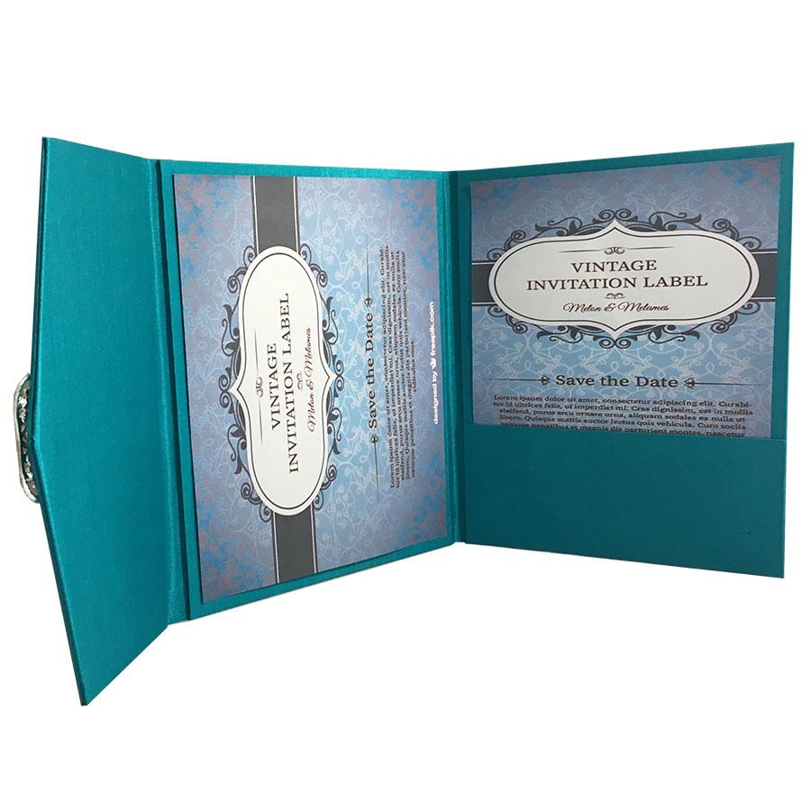 Luxury Pocketfold Wedding Invitations: Light Teal Color Luxury Silk Pocket Fold Design For