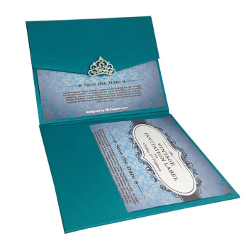 Teal Luxury Pocket Wedding Invitation