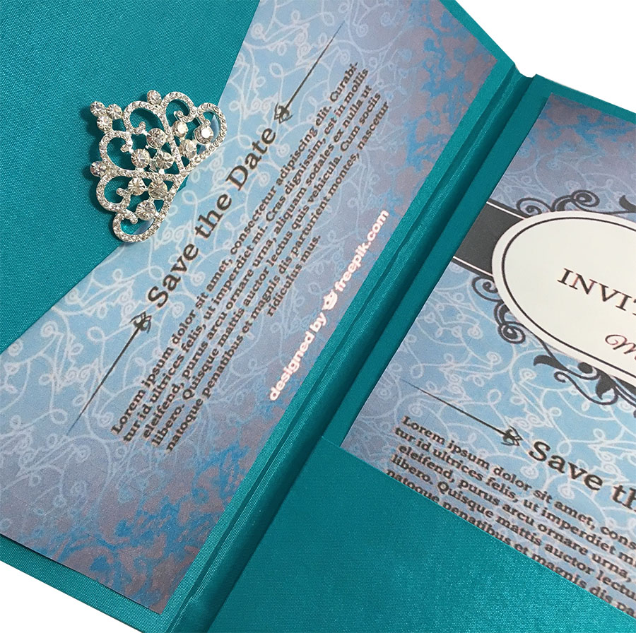 Light Teal Color Luxury Silk Pocket Fold Design For ...