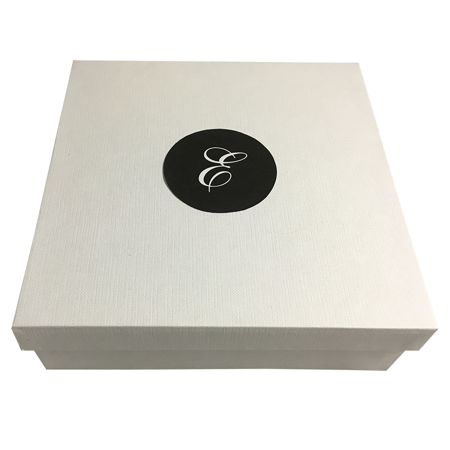 Monogram printed white mailing box for silk invitation for Wedding invitation mailing boxes