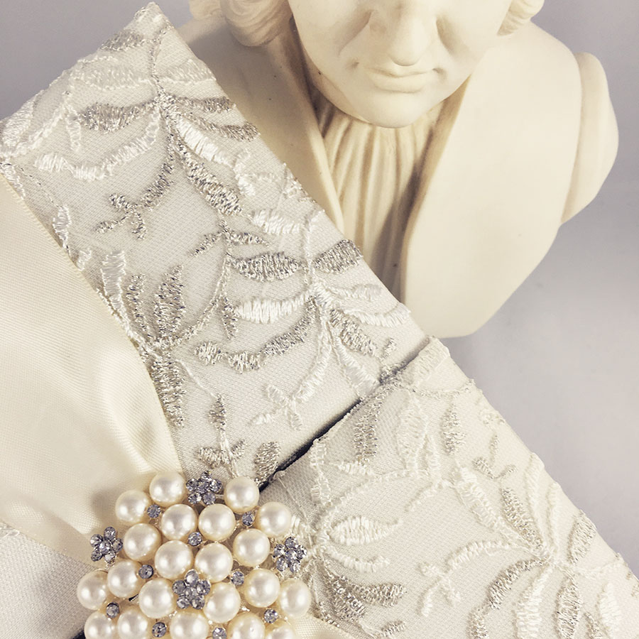 pearl brooch wedding invitation