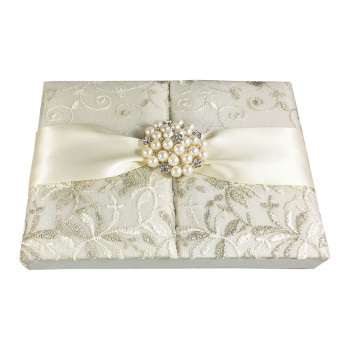 Vintage lace wedding invitation ox in ivory with large pearl brooch
