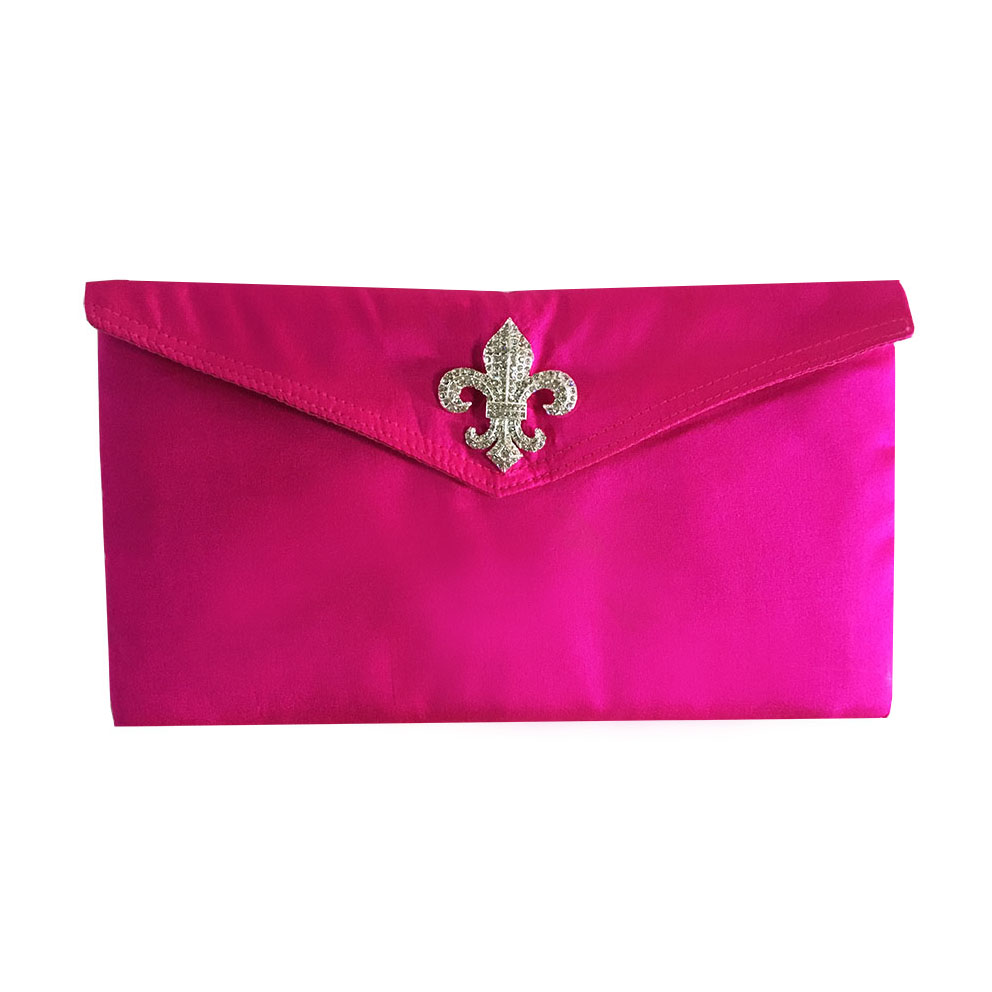 Fleur-De-Lis-Shocking-Pink-Silk-Envelope