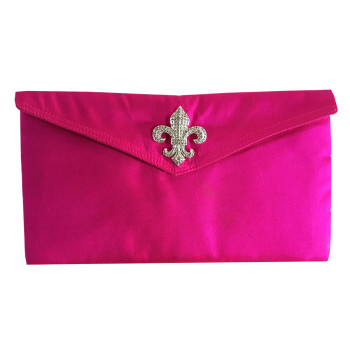 Fleur-De-Lis Silk Envelope In Shocking Pink