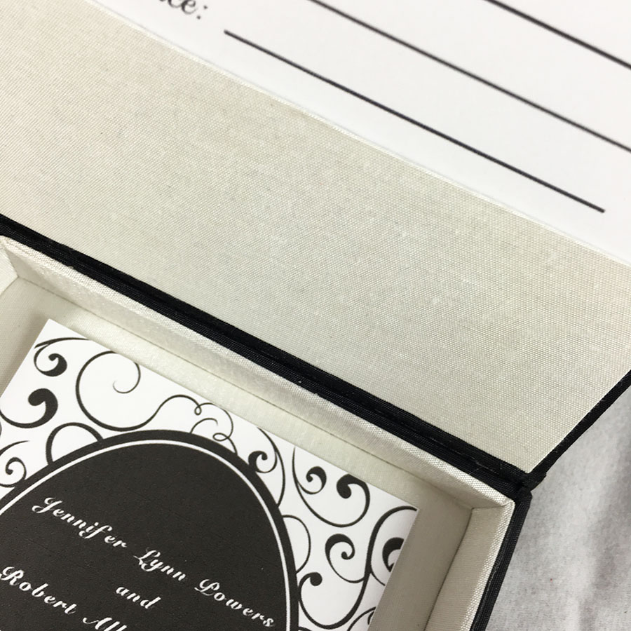 Invitation Box, Silk & Silk Man Bow Tie In Black And Ivory - Luxury ...