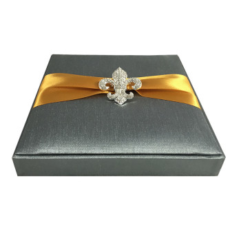 Charcoal Fleur De Lis Invitations