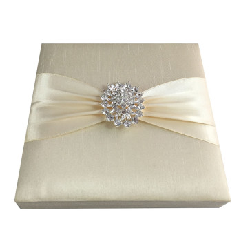 Cream Invitation Box With Dupioni Silkj
