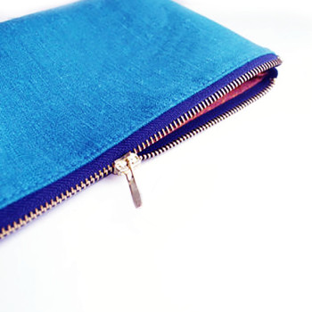 Travel silk cosmetic bag in royal blue with zip