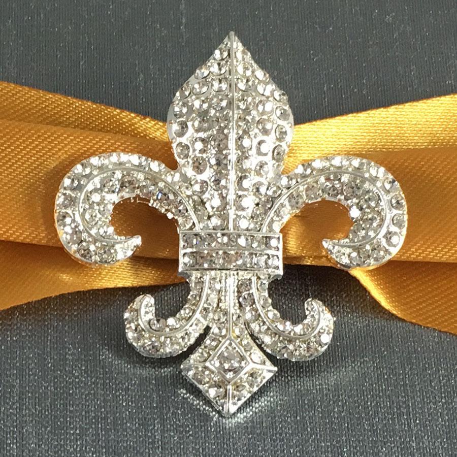 Fleur De Lis Wedding Invitation Creation With Charcoal Color Silk Luxury Wedding Invitations