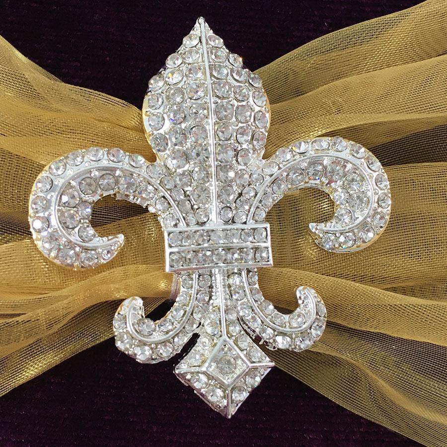 Royal Purple Velvet Fleur-De-Lis Embellished Invitation ...