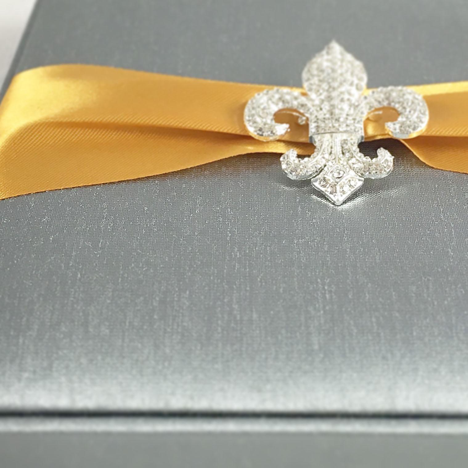 Fleur De Lis Wedding Invitation Creation With Charcoal Color Silk ...