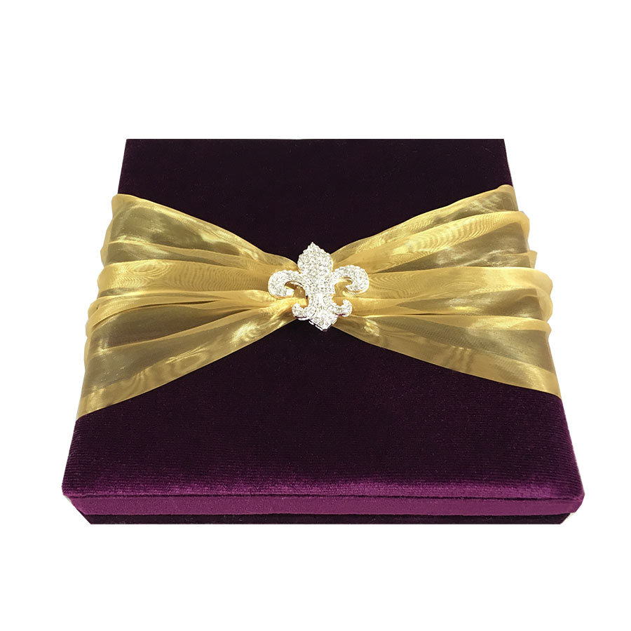 royal purple velvet fleur de lis embellished invitation box for wedding event invitations. Black Bedroom Furniture Sets. Home Design Ideas