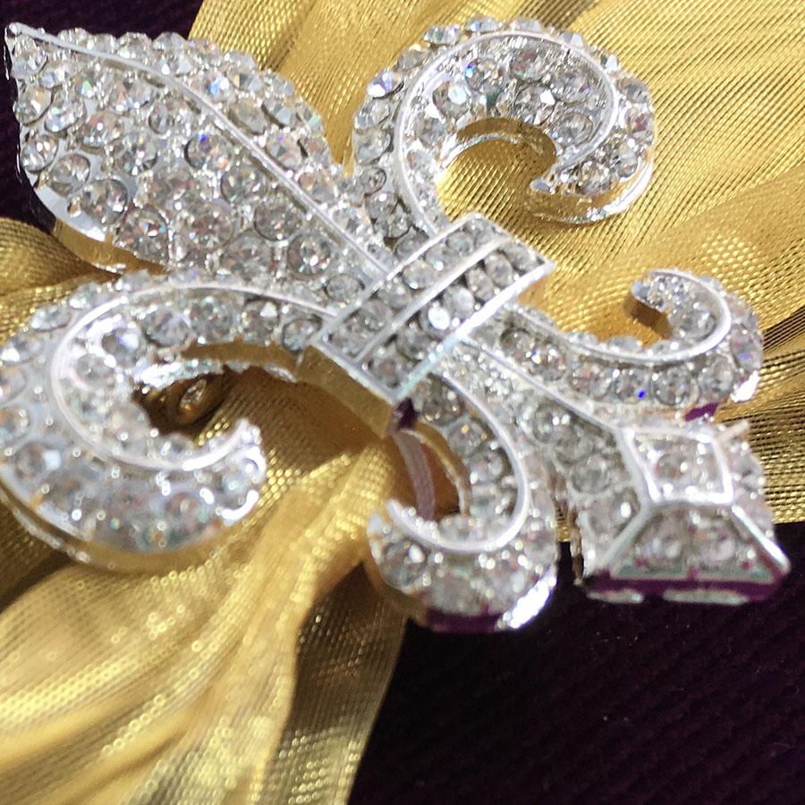 Royal Purple Velvet Fleur De Lis Embellished Invitation