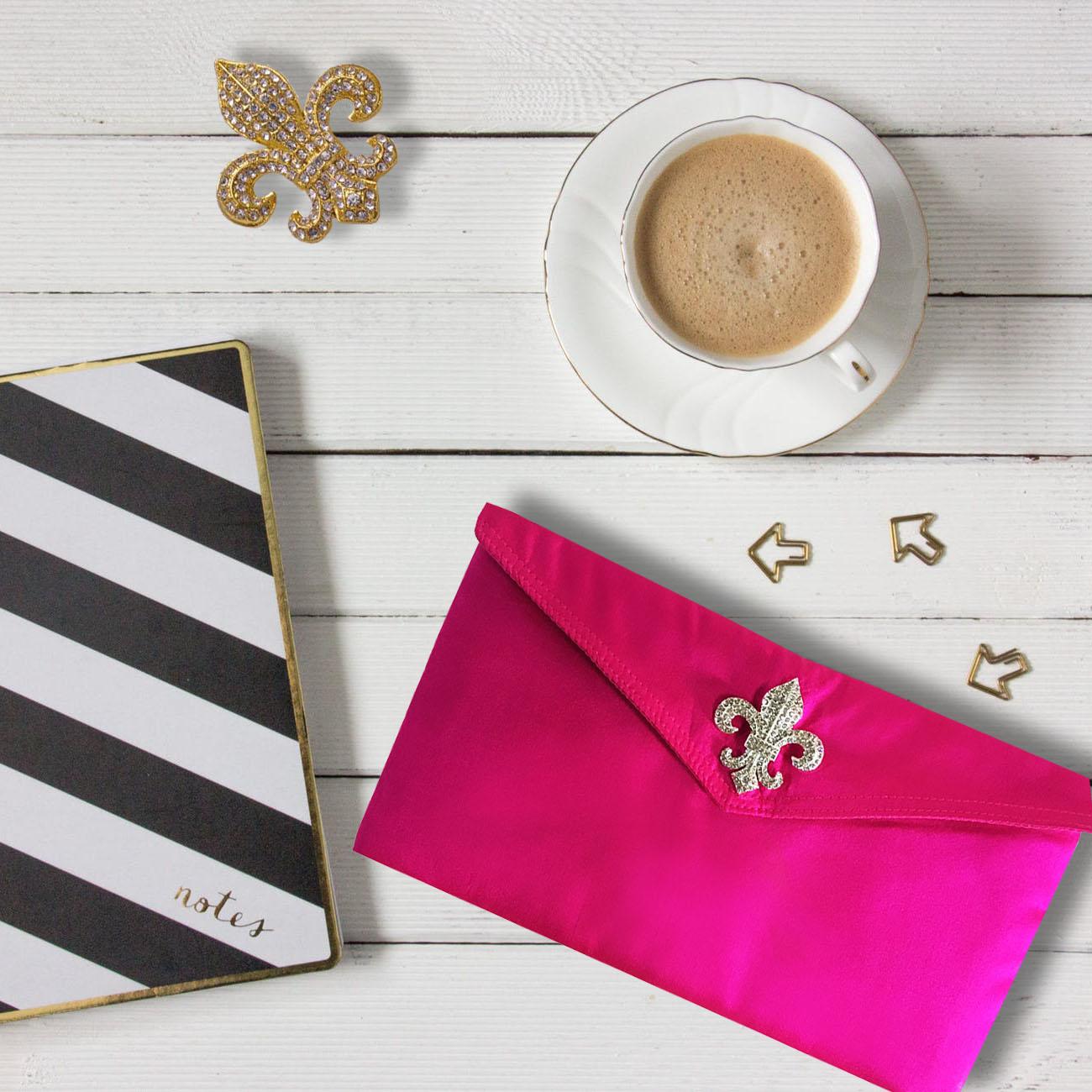 fuchsia pink silk envelope