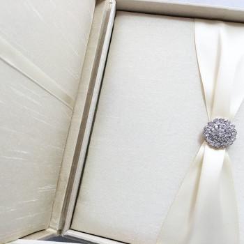 Handmade cream dupioni silk invitation box
