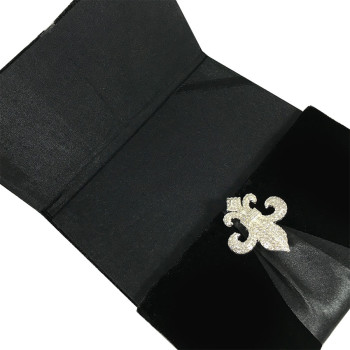 Black velvet pocket folder