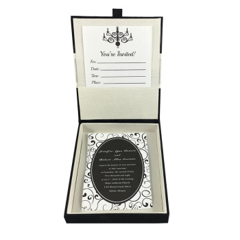 Ivory and black invitation box with hinged lid and pocket