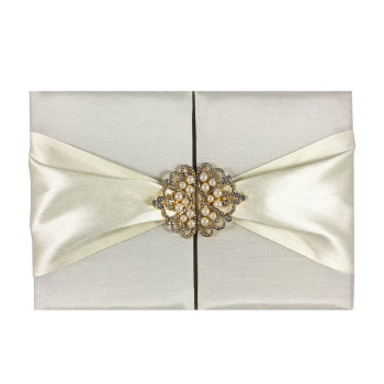 Pocket Folder With Sash & Crown Brooch