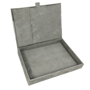 Suede box for jewellery packaging or invitation cards