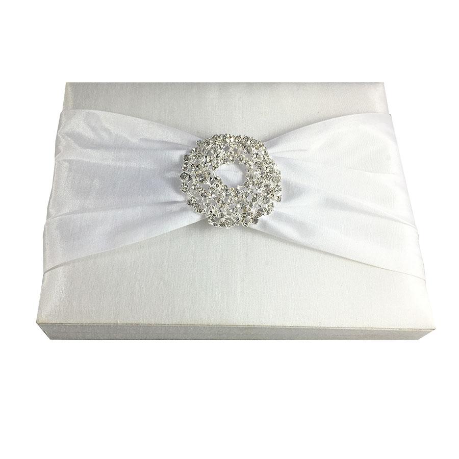 White Invitation Box & Large Crystal Embellishment - Luxury Wedding ...