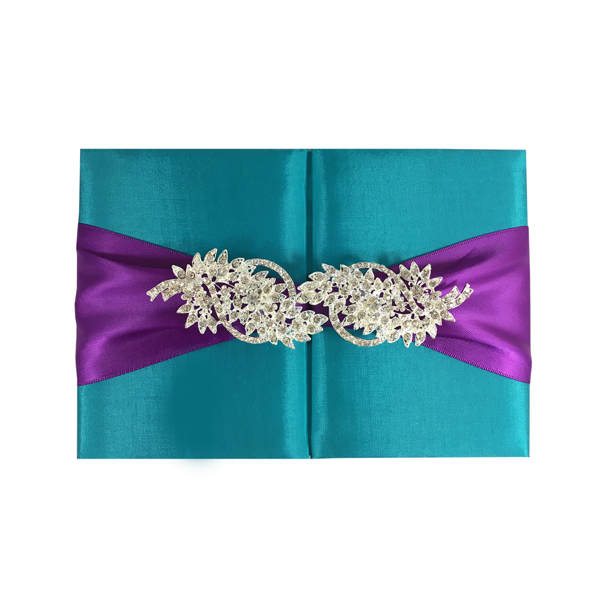 Light Teal Color Silk Wedding Folder Amp Large Brooch Embellishment Luxury Wedding Invitations
