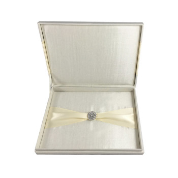 Ivory invitation box with hinged lid