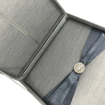 silver silk box for cards of wedding invites