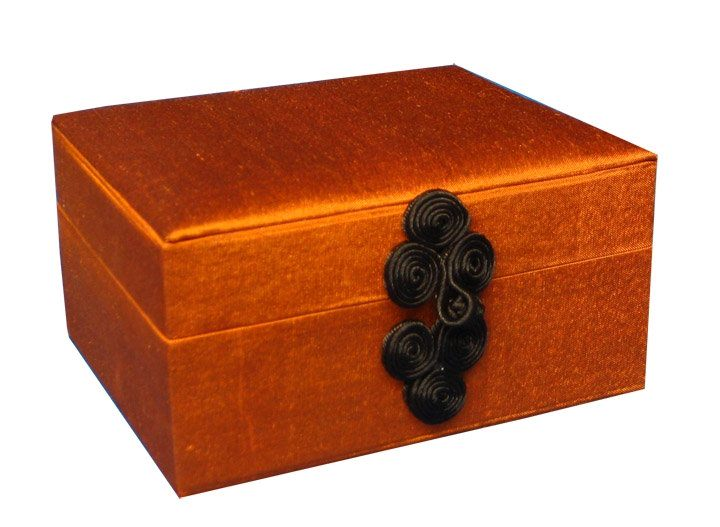 Thai silk gift box in burnt orange color