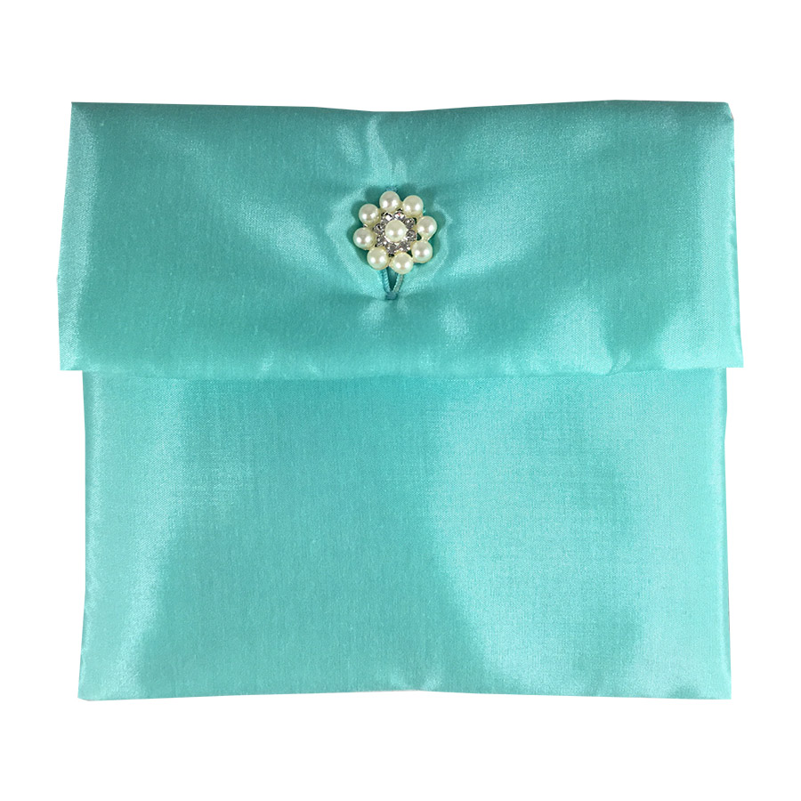 Aqua blue silk envelope