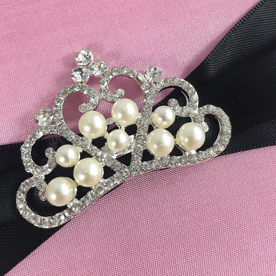 Pink Silk Invitation Pad & Black Sash With Pearl Crown Brooch ...
