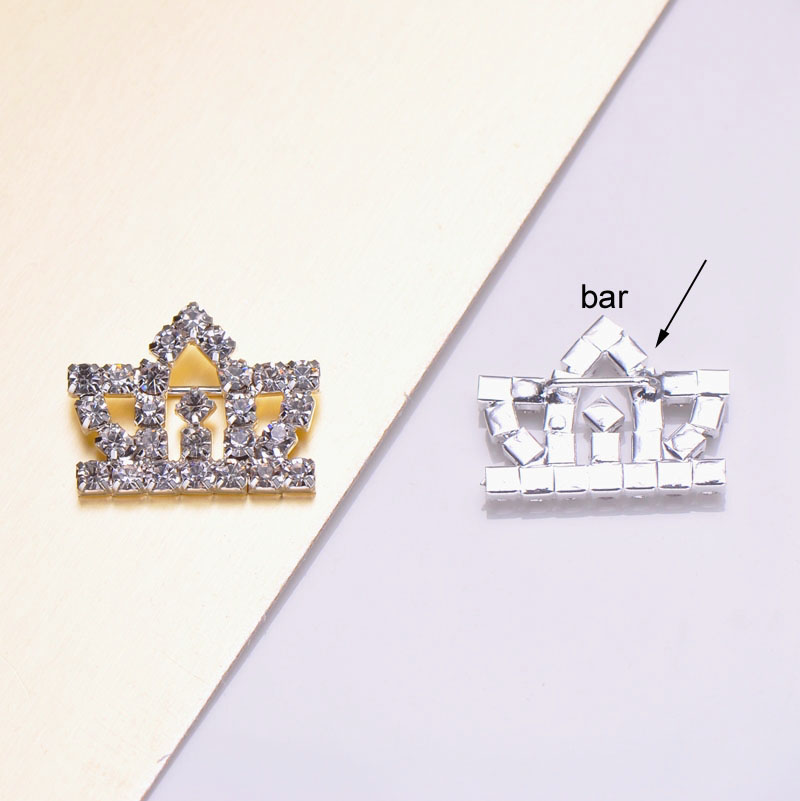 silver plated crown brooch