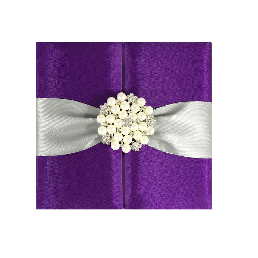 Purple Pocket Fold Silk Invitation With pearl Brooch