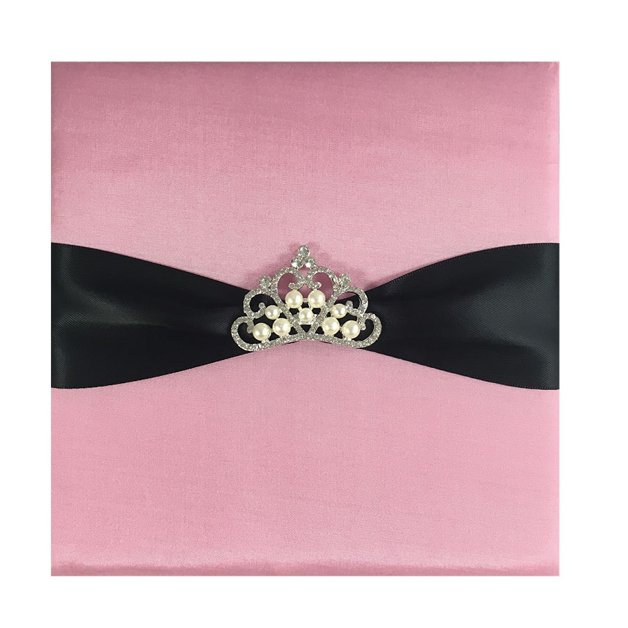 Pink Silk Invitation Pad & Black Sash With Pearl Crown Brooch ...