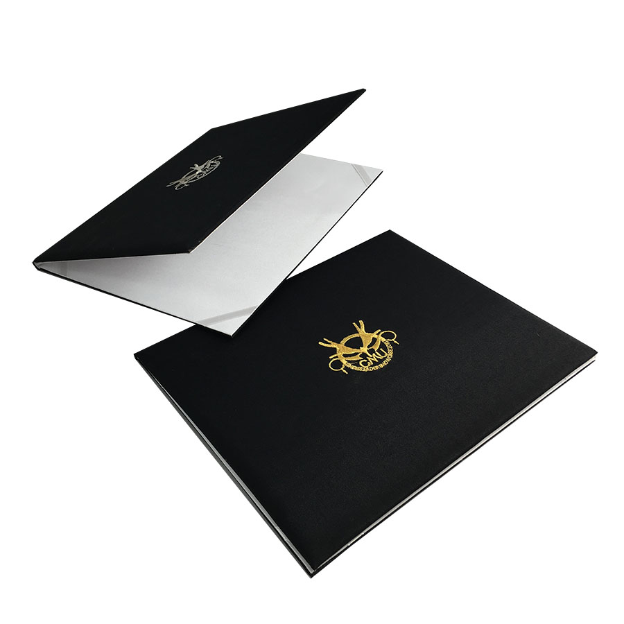 Black Embroidered University Degree Folder Luxury Wedding
