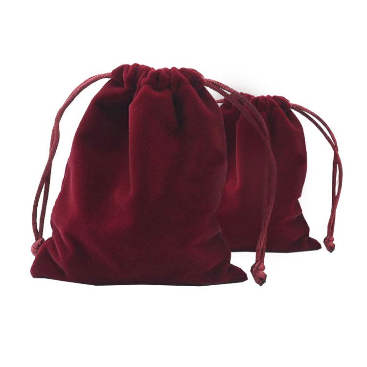 wine red velvet drawstring bag for gift, favour and jewellery packaging