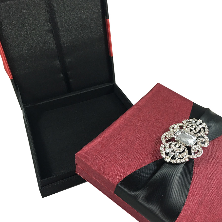 black and red wedding invitation boxes