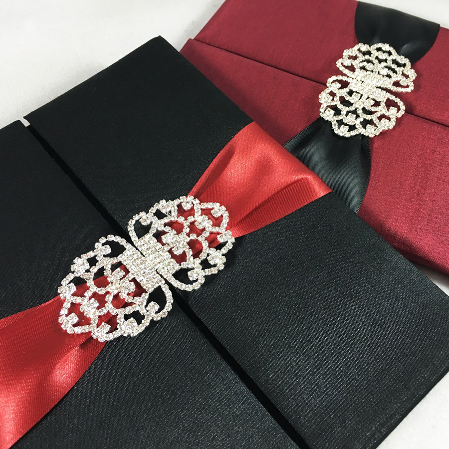 Black & Red Wedding Announcement Invitations - Luxury Wedding ...
