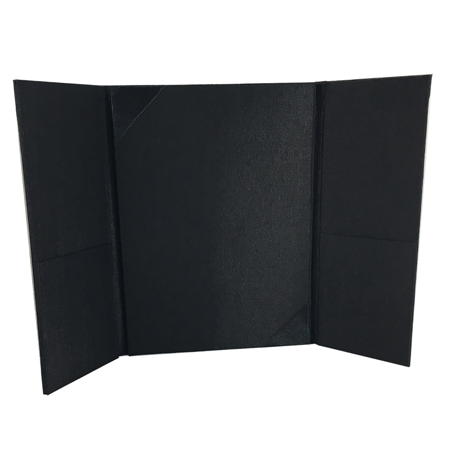 plain black silk invitation folder in trifold style