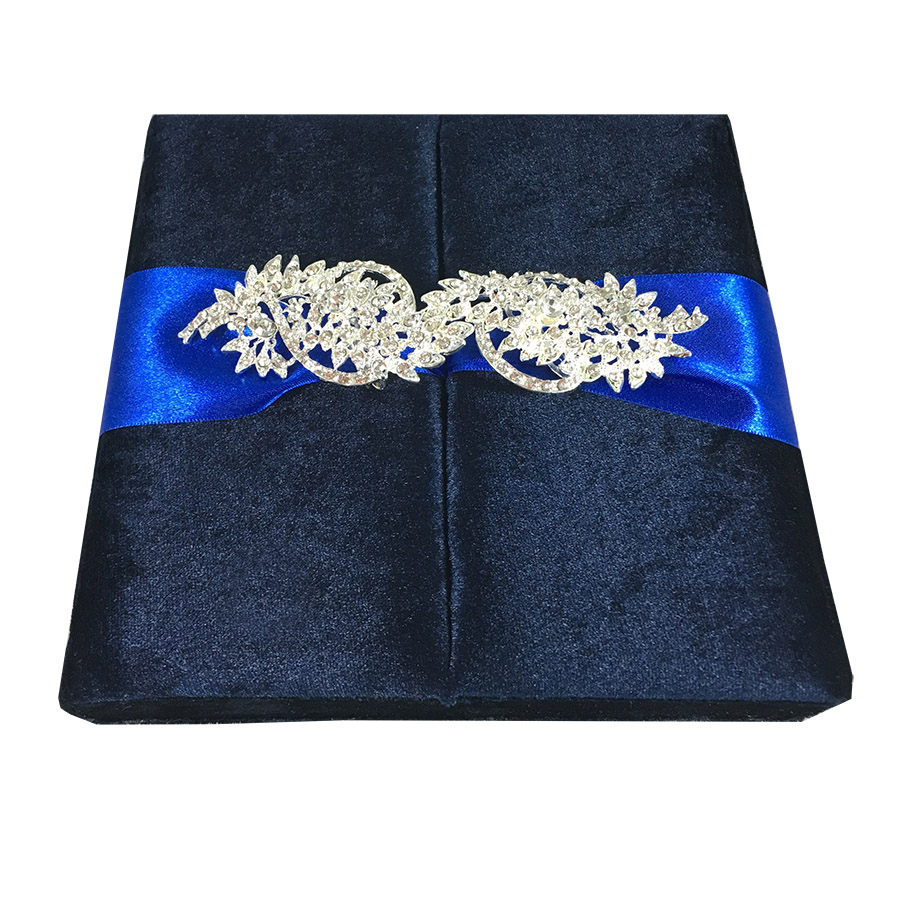 Blue velvet invitation box