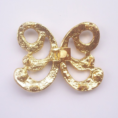 back-side view of gold crystal lock