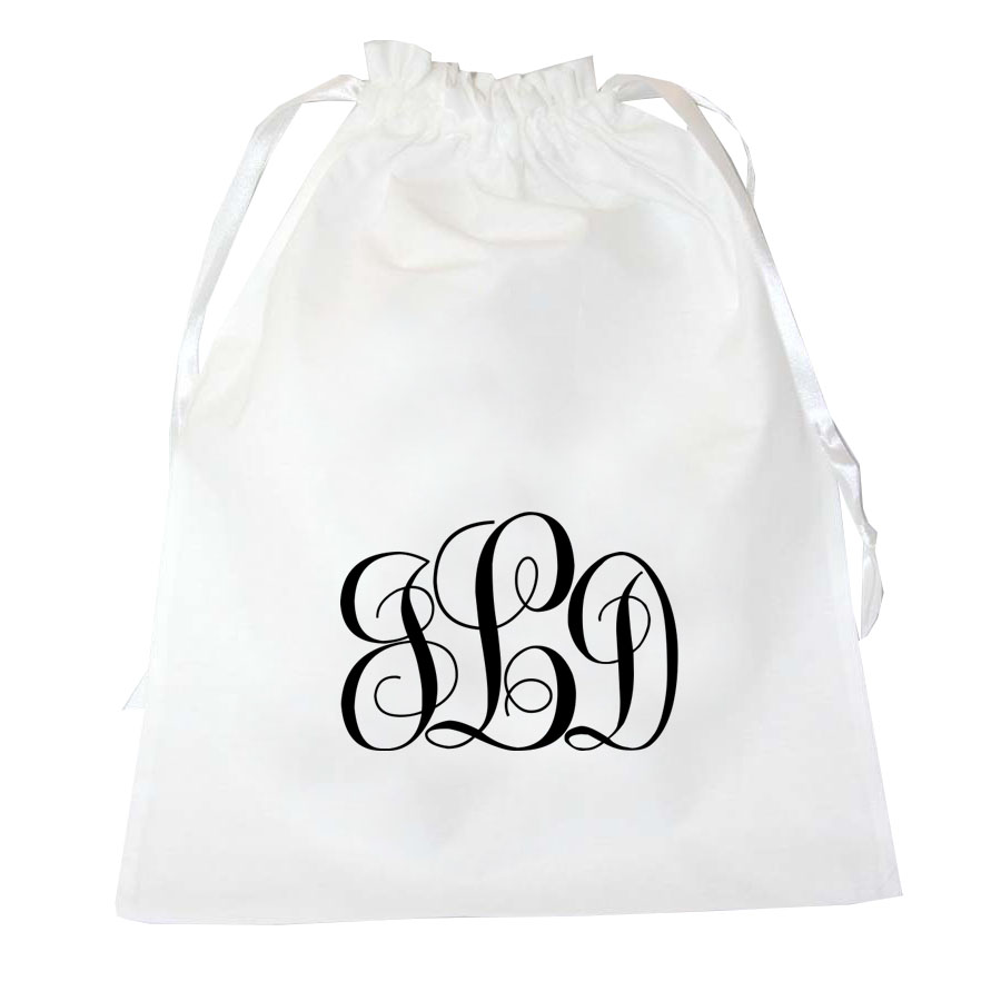 Lingerie bag in white with black embroidery